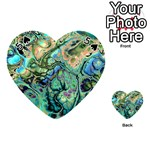 Fractal Batik Art Teal Turquoise Salmon Playing Cards 54 (Heart)  Front - Spade5