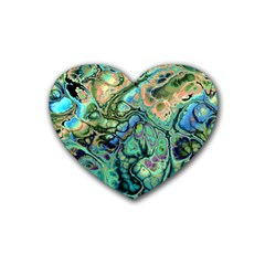 Fractal Batik Art Teal Turquoise Salmon Heart Coaster (4 Pack)