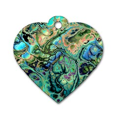 Fractal Batik Art Teal Turquoise Salmon Dog Tag Heart (two Sides) by EDDArt