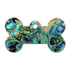 Fractal Batik Art Teal Turquoise Salmon Dog Tag Bone (two Sides) by EDDArt