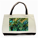 Fractal Batik Art Teal Turquoise Salmon Basic Tote Bag (Two Sides) Back