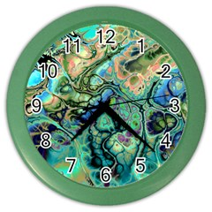 Fractal Batik Art Teal Turquoise Salmon Color Wall Clocks