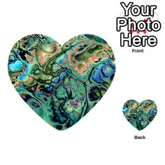 Fractal Batik Art Teal Turquoise Salmon Multi Purpose Cards (heart)  by EDDArt