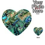 Fractal Batik Art Teal Turquoise Salmon Multi-purpose Cards (Heart)  Front 33