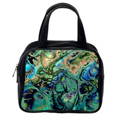 Fractal Batik Art Teal Turquoise Salmon Classic Handbags (one Side) by EDDArt