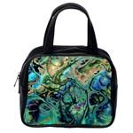Fractal Batik Art Teal Turquoise Salmon Classic Handbags (2 Sides) Back