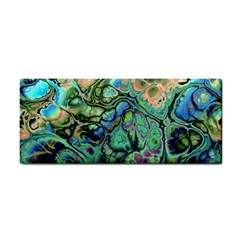Fractal Batik Art Teal Turquoise Salmon Hand Towel