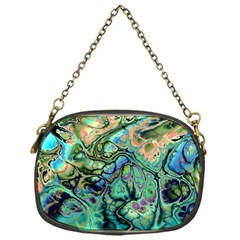 Fractal Batik Art Teal Turquoise Salmon Chain Purses (one Side)  by EDDArt