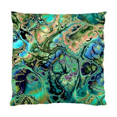 Fractal Batik Art Teal Turquoise Salmon Standard Cushion Case (one Side)