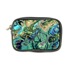 Fractal Batik Art Teal Turquoise Salmon Coin Purse