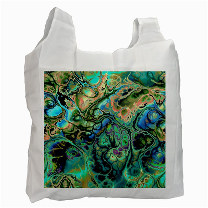 Fractal Batik Art Teal Turquoise Salmon Recycle Bag (Two Side)