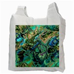 Fractal Batik Art Teal Turquoise Salmon Recycle Bag (Two Side)  Back