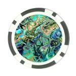 Fractal Batik Art Teal Turquoise Salmon Poker Chip Card Guards (10 pack)  Back