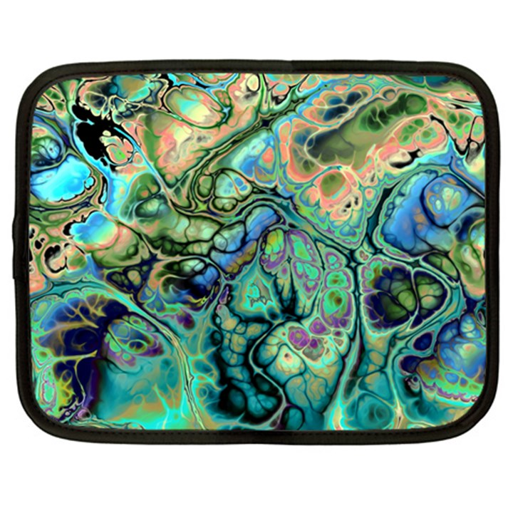 Fractal Batik Art Teal Turquoise Salmon Netbook Case (XL)