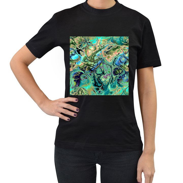 Fractal Batik Art Teal Turquoise Salmon Women s T-Shirt (Black)