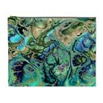 Fractal Batik Art Teal Turquoise Salmon Cosmetic Bag (XL)