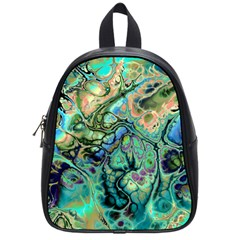 Fractal Batik Art Teal Turquoise Salmon School Bags (small)  by EDDArt