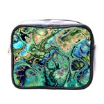 Fractal Batik Art Teal Turquoise Salmon Mini Toiletries Bags Front