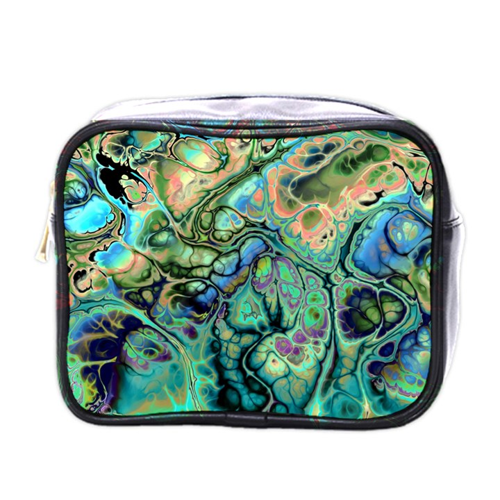 Fractal Batik Art Teal Turquoise Salmon Mini Toiletries Bags