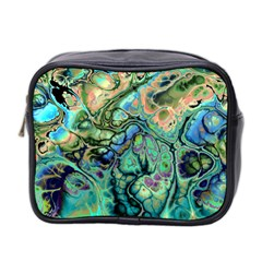 Fractal Batik Art Teal Turquoise Salmon Mini Toiletries Bag 2 Side by EDDArt