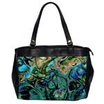 Fractal Batik Art Teal Turquoise Salmon Office Handbags Front