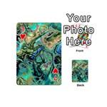 Fractal Batik Art Teal Turquoise Salmon Playing Cards 54 (Mini)  Front - Heart7
