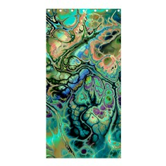 Fractal Batik Art Teal Turquoise Salmon Shower Curtain 36  X 72  (stall)  by EDDArt