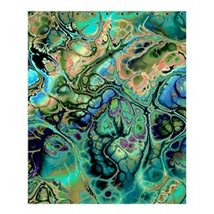 Fractal Batik Art Teal Turquoise Salmon Shower Curtain 60  X 72  (medium)