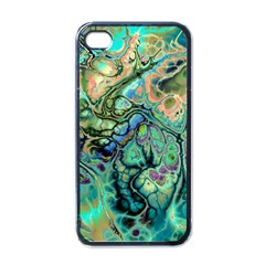 Fractal Batik Art Teal Turquoise Salmon Apple Iphone 4 Case (black) by EDDArt