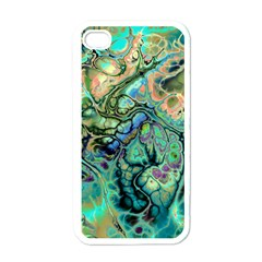 Fractal Batik Art Teal Turquoise Salmon Apple Iphone 4 Case (white) by EDDArt