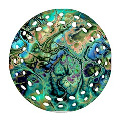 Fractal Batik Art Teal Turquoise Salmon Ornament (round Filigree)  by EDDArt