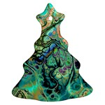 Fractal Batik Art Teal Turquoise Salmon Christmas Tree Ornament (2 Sides) Front