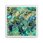 Fractal Batik Art Teal Turquoise Salmon Memory Card Reader (Square)