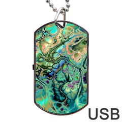 Fractal Batik Art Teal Turquoise Salmon Dog Tag Usb Flash (one Side) by EDDArt