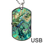 Fractal Batik Art Teal Turquoise Salmon Dog Tag USB Flash (One Side) Front