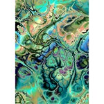 Fractal Batik Art Teal Turquoise Salmon Heart Bottom 3D Greeting Card (7x5) Inside