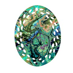Fractal Batik Art Teal Turquoise Salmon Ornament (oval Filigree)  by EDDArt