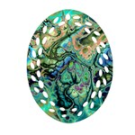 Fractal Batik Art Teal Turquoise Salmon Oval Filigree Ornament (2-Side)  Front