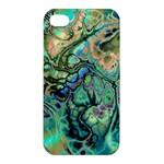 Fractal Batik Art Teal Turquoise Salmon Apple iPhone 4/4S Hardshell Case