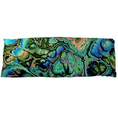 Fractal Batik Art Teal Turquoise Salmon Body Pillow Case (dakimakura) by EDDArt