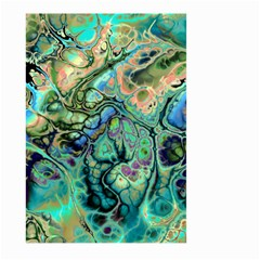 Fractal Batik Art Teal Turquoise Salmon Large Garden Flag (two Sides)
