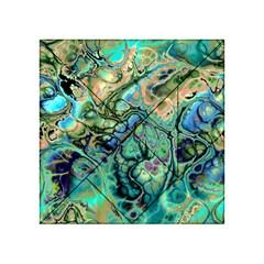 Fractal Batik Art Teal Turquoise Salmon Acrylic Tangram Puzzle (4  X 4 )