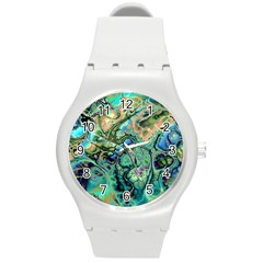 Fractal Batik Art Teal Turquoise Salmon Round Plastic Sport Watch (m) by EDDArt