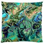 Fractal Batik Art Teal Turquoise Salmon Large Cushion Case (One Side)