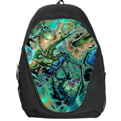 Fractal Batik Art Teal Turquoise Salmon Backpack Bag by EDDArt