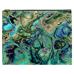 Fractal Batik Art Teal Turquoise Salmon Cosmetic Bag (xxxl)  by EDDArt