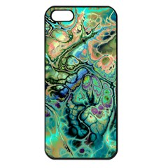 Fractal Batik Art Teal Turquoise Salmon Apple Iphone 5 Seamless Case (black) by EDDArt