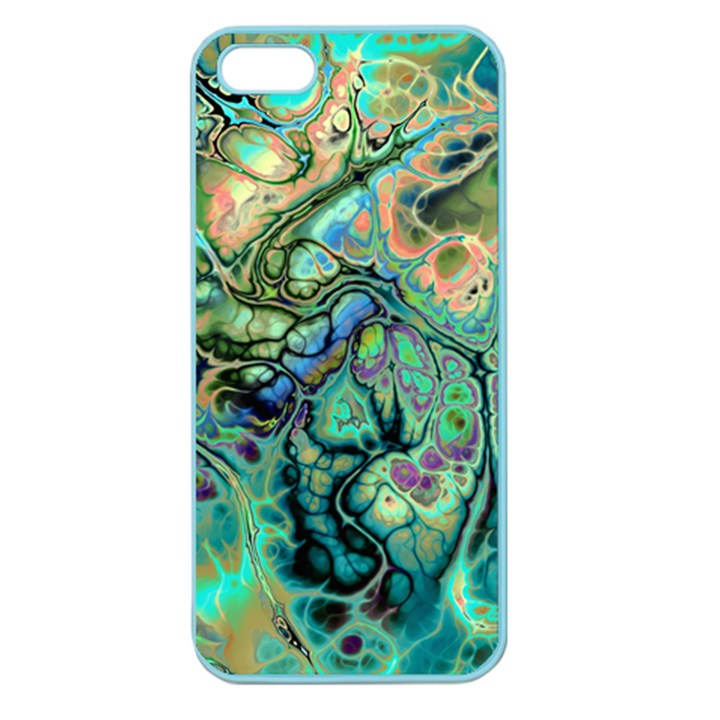 Fractal Batik Art Teal Turquoise Salmon Apple Seamless iPhone 5 Case (Color)