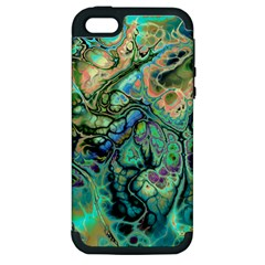 Fractal Batik Art Teal Turquoise Salmon Apple Iphone 5 Hardshell Case (pc+silicone)