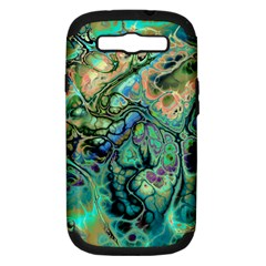 Fractal Batik Art Teal Turquoise Salmon Samsung Galaxy S Iii Hardshell Case (pc+silicone)